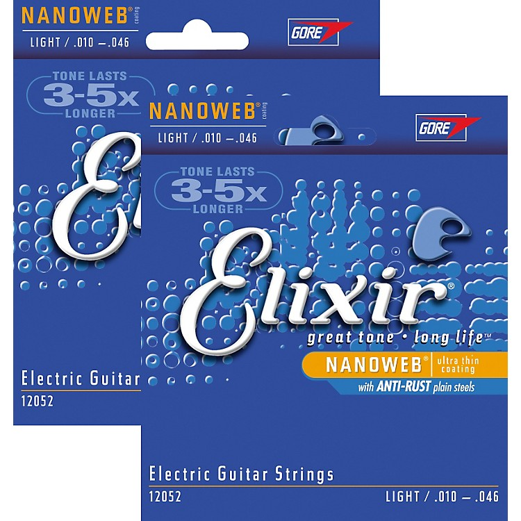 Elixir Light Nanoweb Electric Guitar Strings 2-Pack