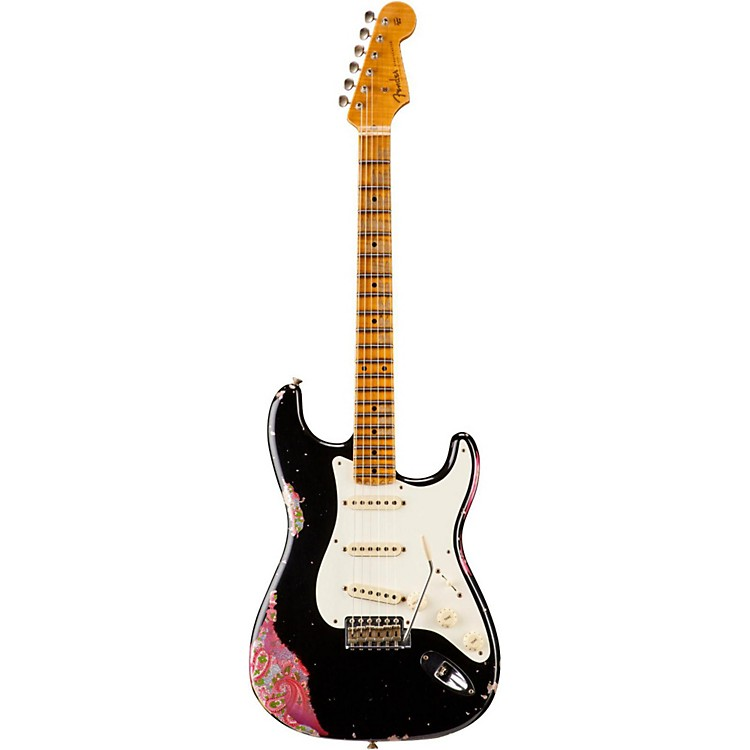 Fender Custom Shop Limited Edition 1957 Heavy Relic Stratocaster Electric Guitar, Maple Black over Pink Paisley