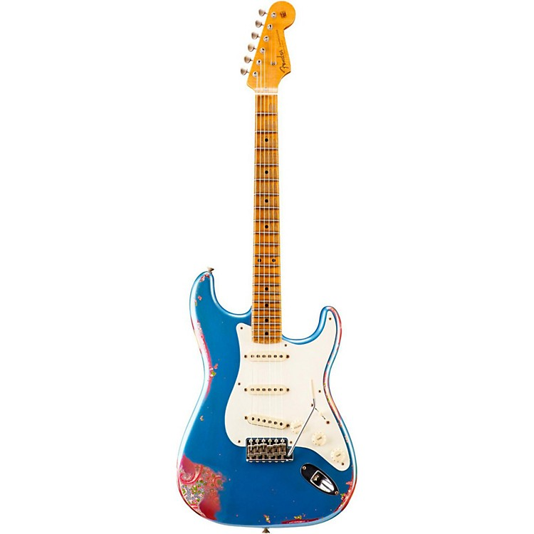 Fender Custom ShopLimited Edition 1957 Heavy Relic Stratocaster Electric Guitar, MapleLake Placid Blue over Pink Paisley