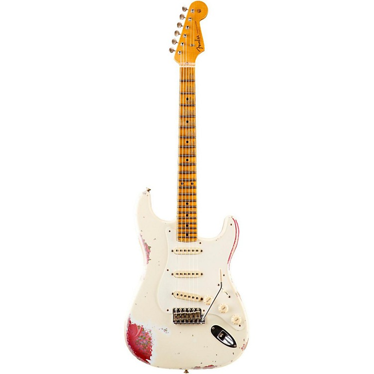 Fender Custom ShopLimited Edition 1957 Heavy Relic Stratocaster Electric Guitar, MapleOlympic White over Pink Paisley