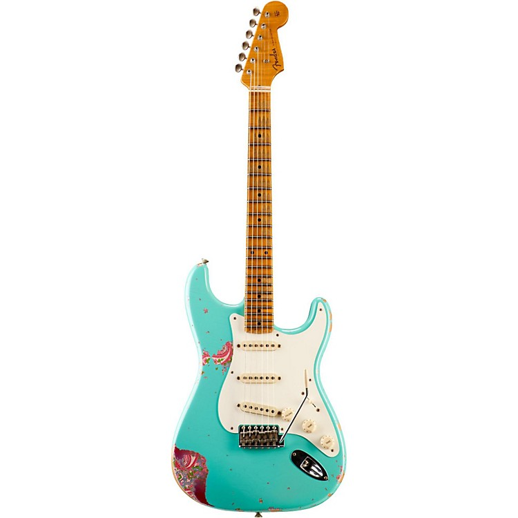 Fender Custom Shop Limited Edition 1957 Heavy Relic Stratocaster Electric Guitar, Maple Sea Foam Green over Pink Paisley