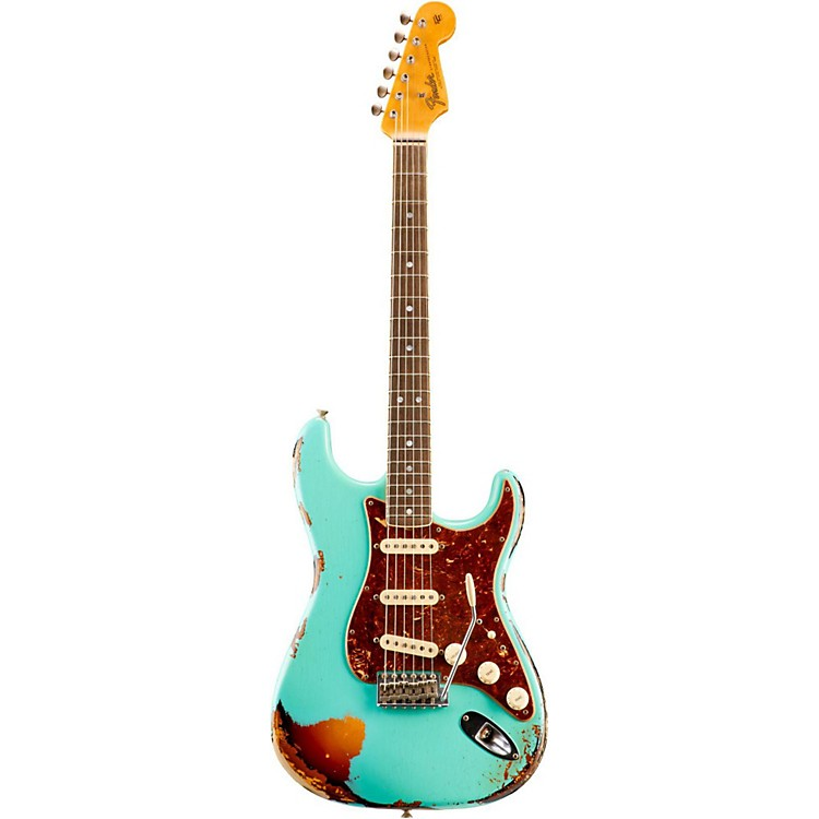 Fender Custom Shop Limited Edition '60s Heavy Relic Bound Neck Stratocaster Electric Guitar Sea Foam Green over 3-Color Sunburst