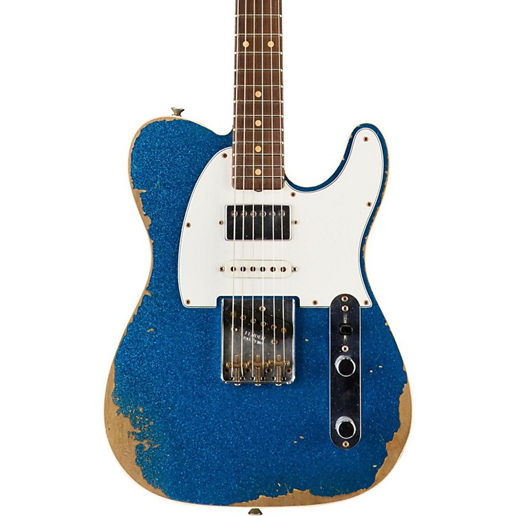 Fender Custom Shop Limited Edition '60s Heavy Relic Nashville Telecaster Custom HSS Electric Guitar, Rosewood Blue Sparkle