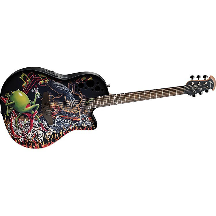 Ovation Limited-Edition DJ Ashba Demented Acoustic-Electric Guitar Bone Yard