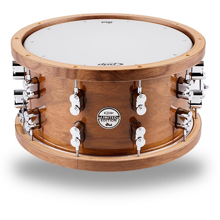PDPLimited Edition Dark Stain Walnut and Maple Snare with Walnut Hoops and Chrome Hardware14 x 7.5 in.