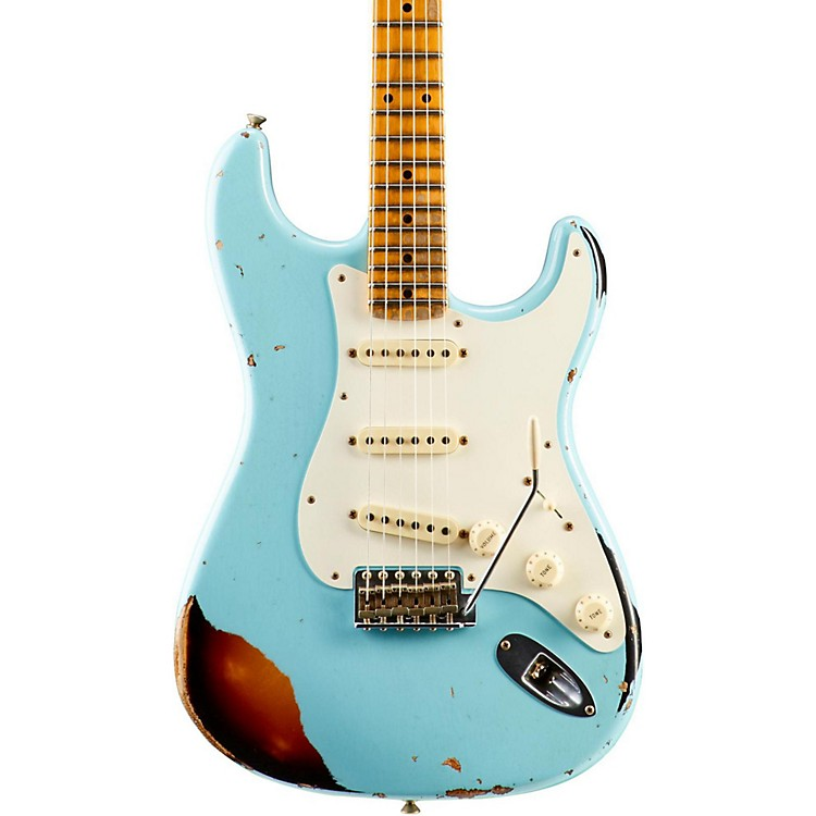 Fender Custom ShopLimited Edition Heavy Relic Mischief Maker Maple Fingerboard Electric GuitarDaphne Blue over 3-Color Sunburst
