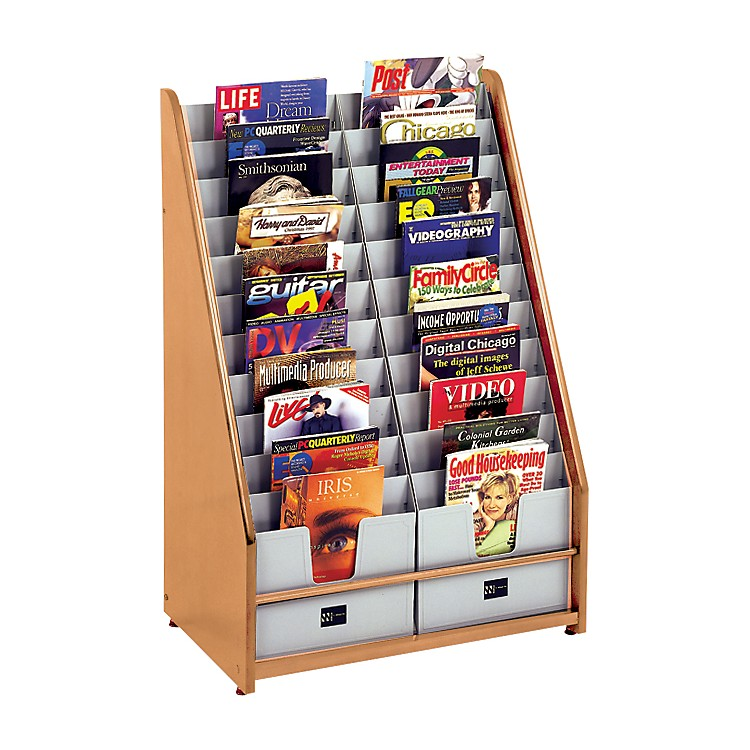 H. Wilson Literature Racks Oak 22 Pocket