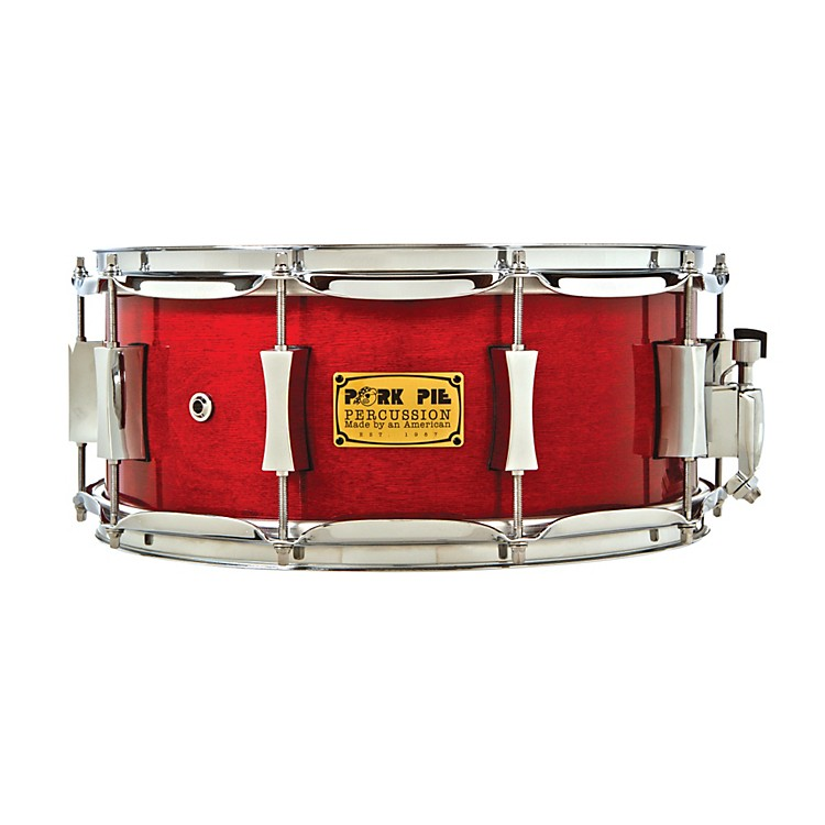Pork PieLittle Squealer Birch/Mahogany Shell Snare DrumHigh Gloss Black Cherry Lacquer with Chrome Hardware6.5X14 Inch