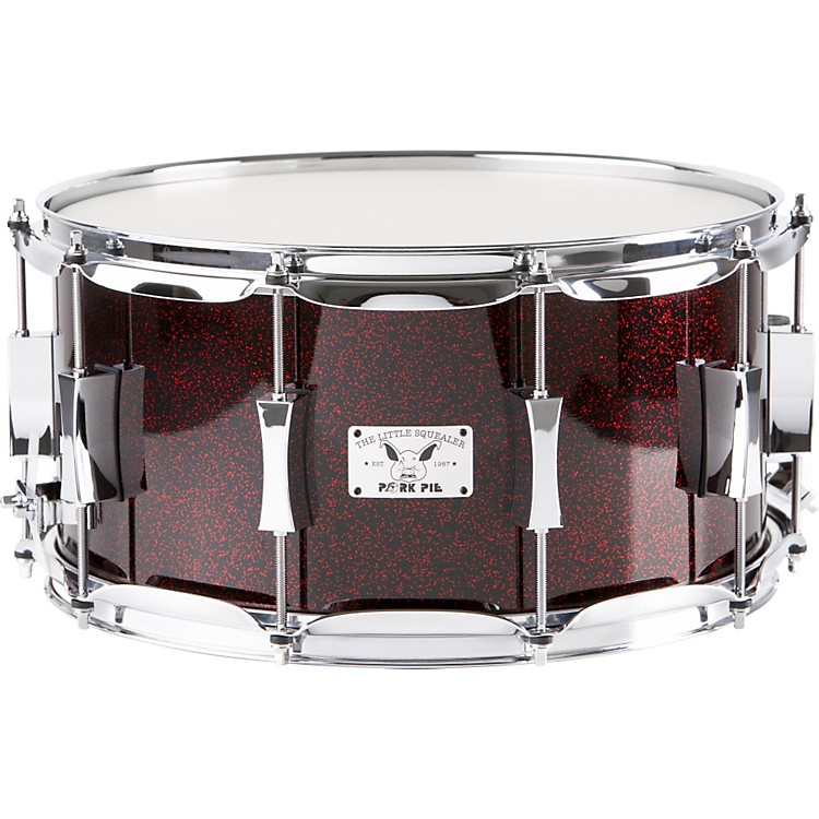 Pork Pie Little Squealer Maple Snare Drum, Blood Red Sparkle