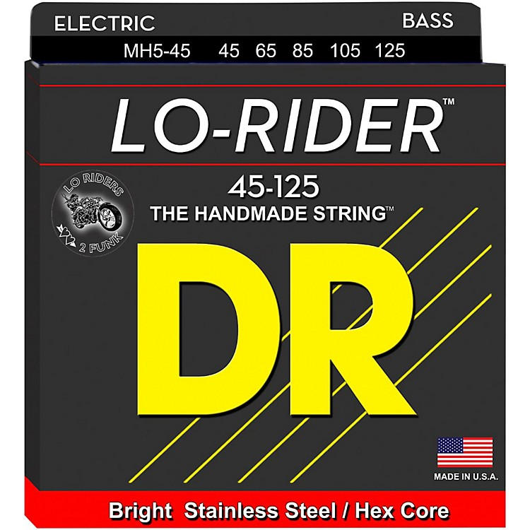 DR Strings Lo Rider MH5-45 Medium Stainless Steel 5-String Bass Strings .125 Low B