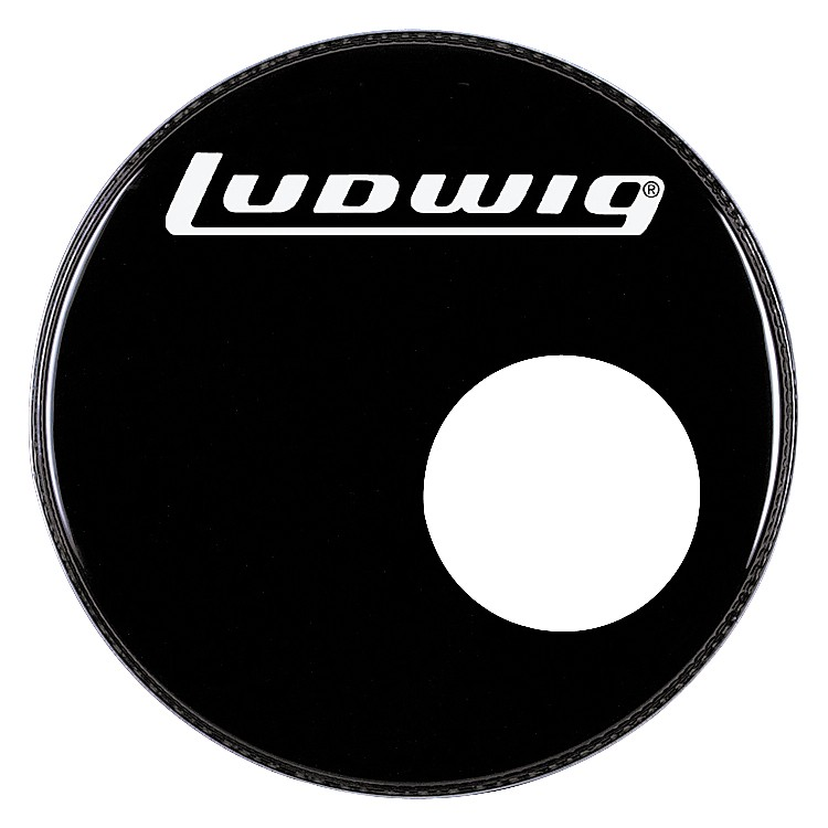 Ludwig Logo Resonance Bass Drum Head with Port Black 22 Inch