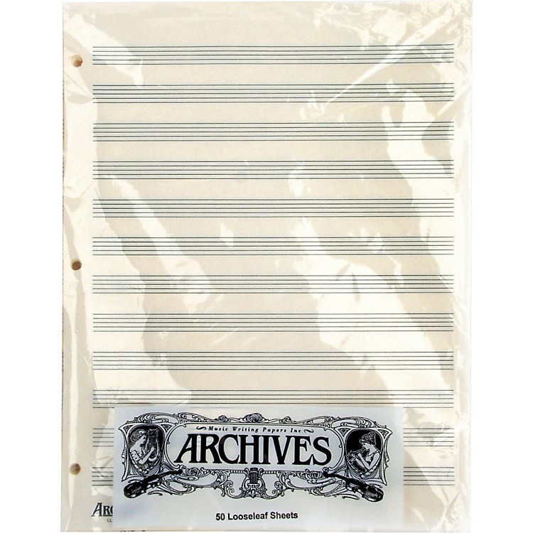 Archives Loose Leaf Manuscript Paper 12 Staves 50 Sheets