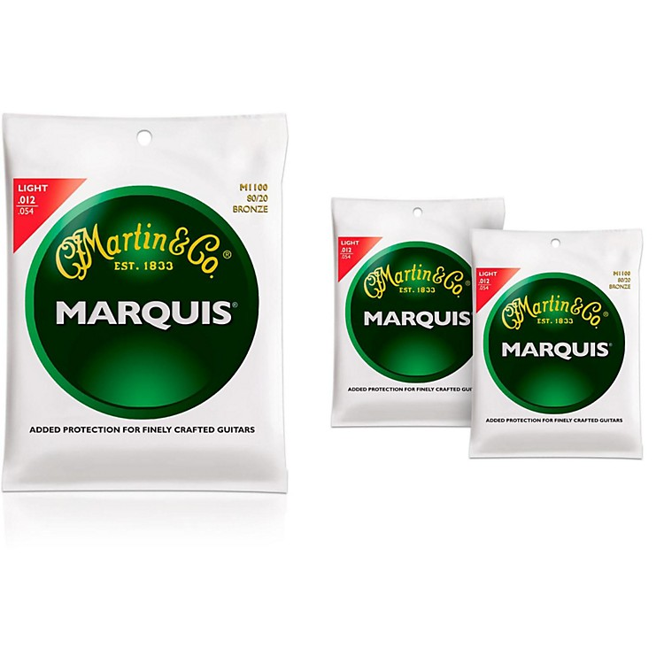 MartinM1100 Marquis 80/20 Bronze Light 3-Pack Acoustic Guitar Strings