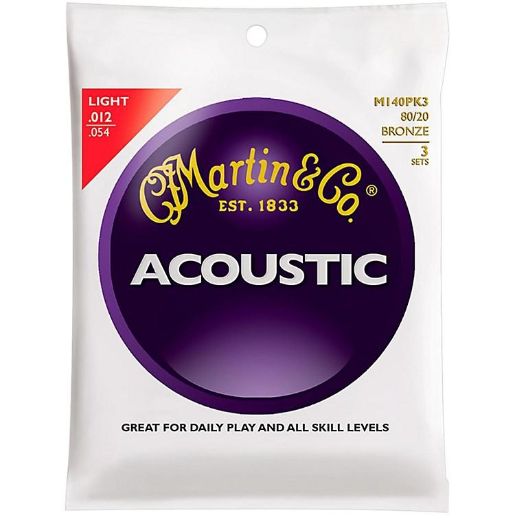 MartinM140 80/20 Bronze Light 3-Pack Acoustic Guitar Strings