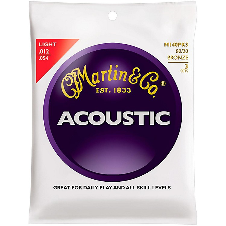 Martin M140 Light Acoustic Guitar Strings - 3 Pack