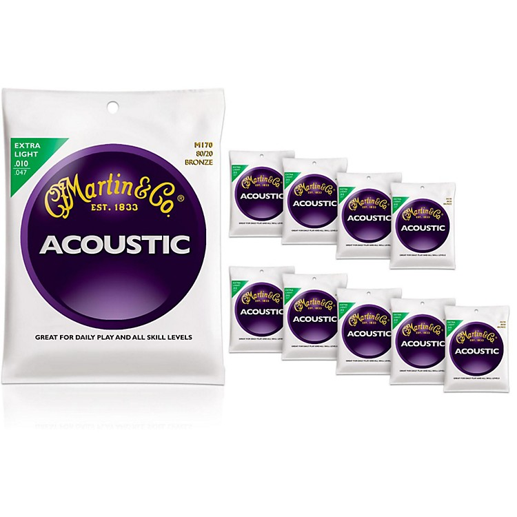 MartinM170 80/20 Bronze Extra Light 10-Pack Acoustic Guitar Strings