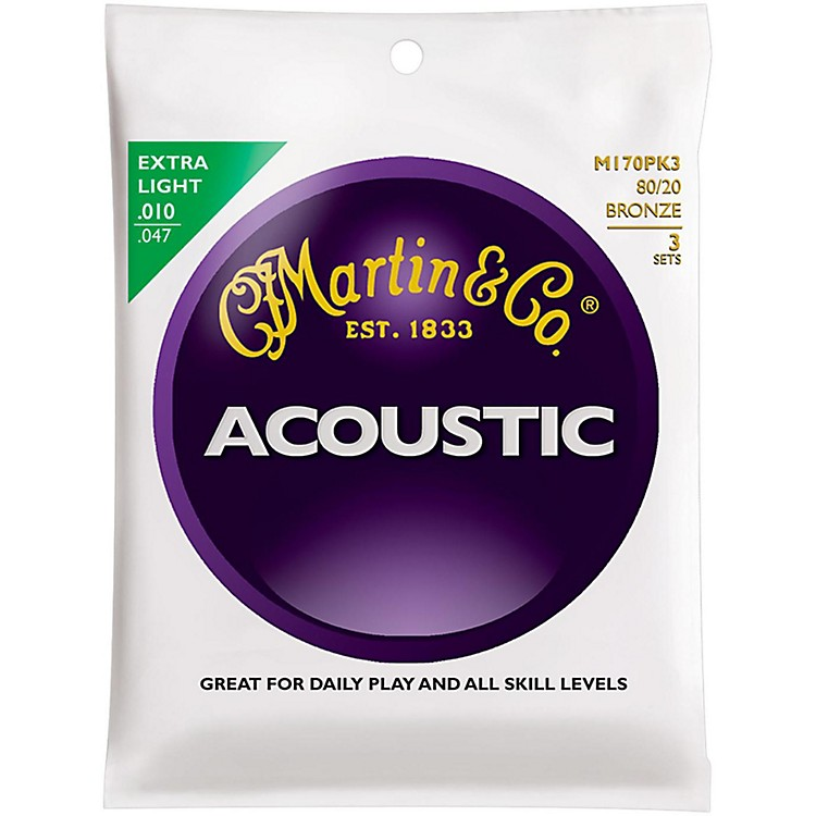 MartinM170 80/20 Bronze Round Wound Extra Light Acoustic Guitar Strings - 3 Pack