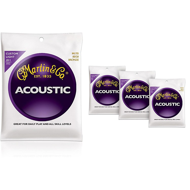 MartinM175 Traditional Bronze Custom Light Acoustic Guitar Strings - 4 Pack