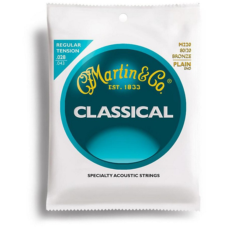 Martin M220 80/20 Bronze Plain-End Regular Tension Nylon Classic Guitar Strings