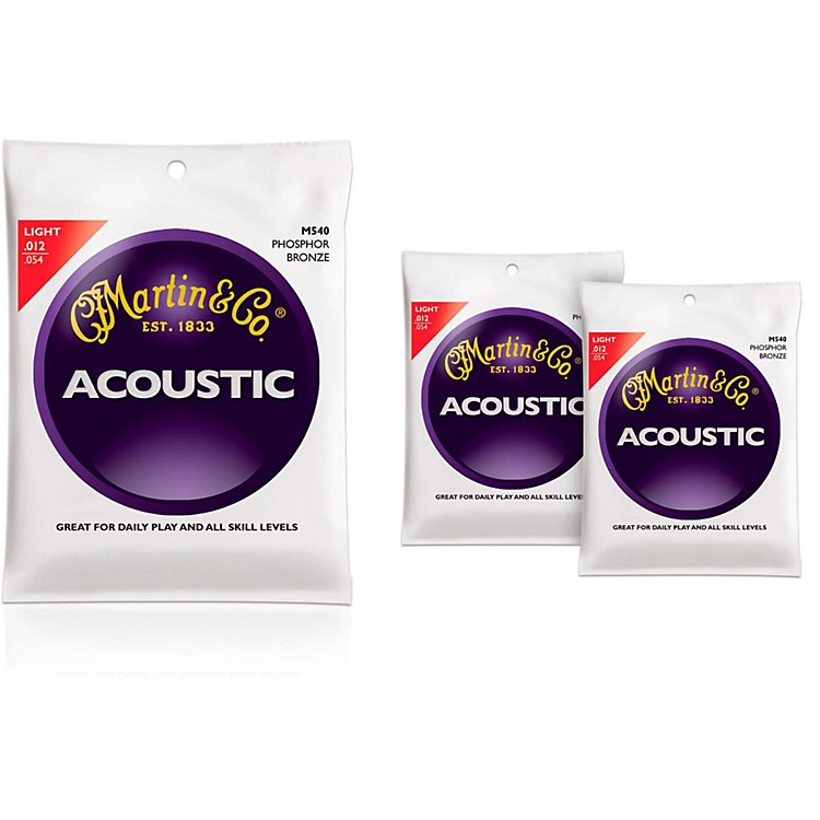Martin M540 Phosphor Bronze Light Acoustic Guitar Strings - 3 Pack