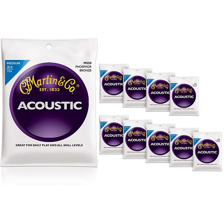 Martin M550 Phosphor Bronze Medium 10-Pack Acoustic Guitar Strings