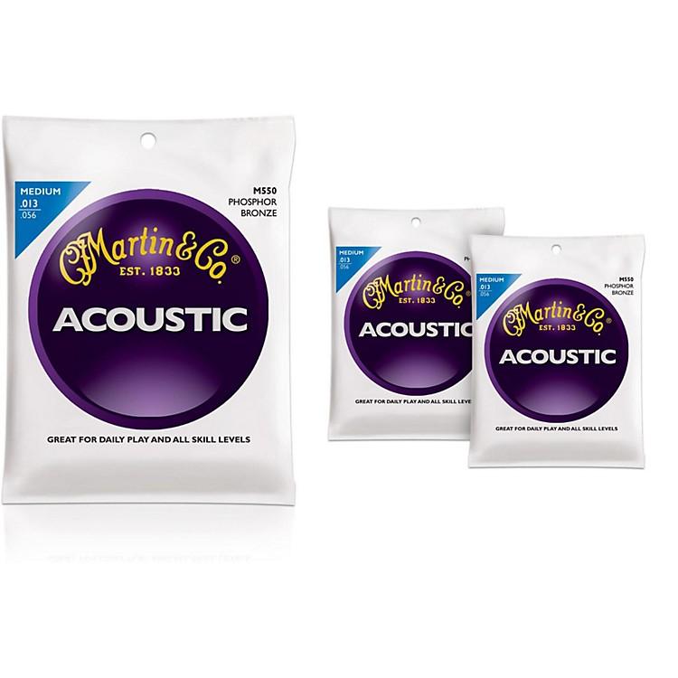 MartinM550 Phosphor Bronze Medium 3-Pack Acoustic Guitar Strings