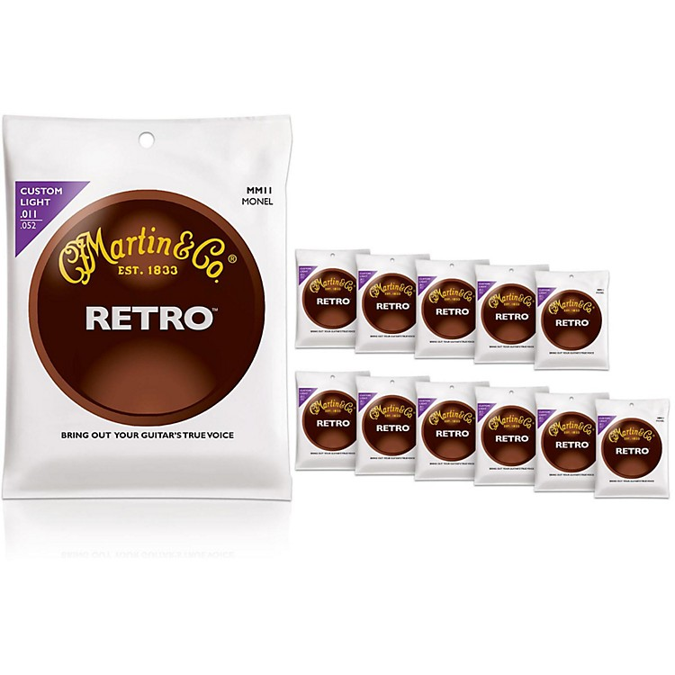 MartinMM11 Retro Series Custom Light 12-Pack Acoustic Guitar Strings