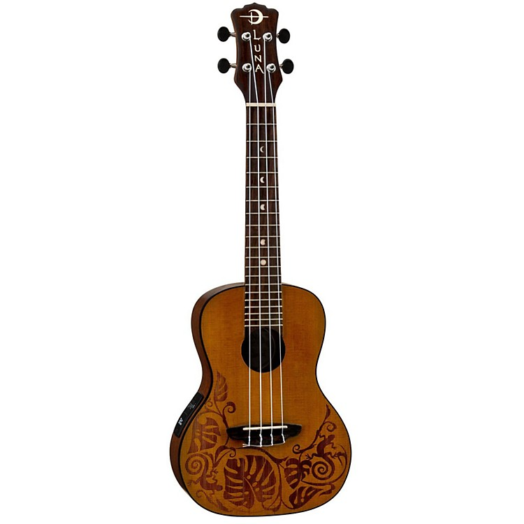 Luna Guitars MO CDR Concert Acoustic-Electric Ukulele Lizard Design