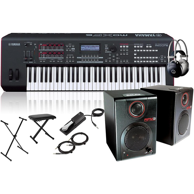 YamahaMOXF6 61-Key Semi-Weighted Synth with RPM3 Monitors, Stand, Headphones, Bench, and Sustain Pedal