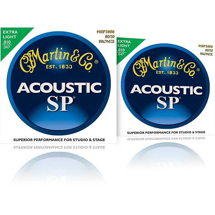 Martin MSP3000 SP Bronze Extra Light Acoustic Guitar Strings (2 Pack)