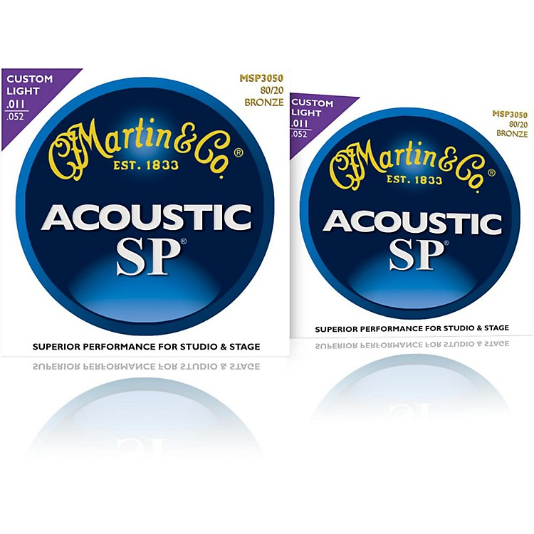 Martin MSP3050 SP 80/20 Bronze Custom Light Acoustic Guitar Strings (2 Pack)