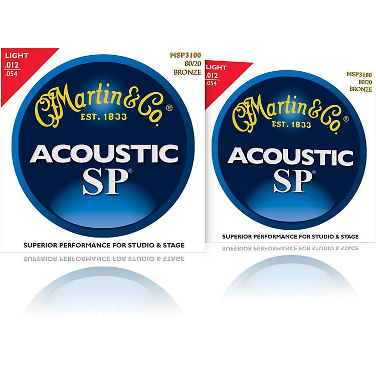 Martin MSP3100 SP 80/20 Bronze Light Acoustic Guitar Strings (2 Pack)