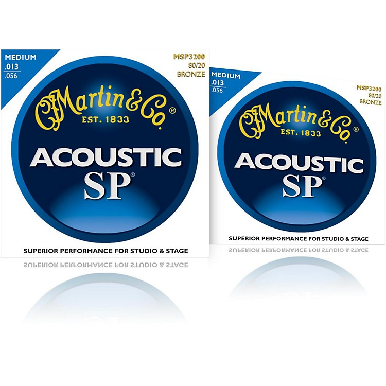 Martin MSP3200 SP 80/20 Bronze Medium Acoustic Guitar Strings (2 Pack)