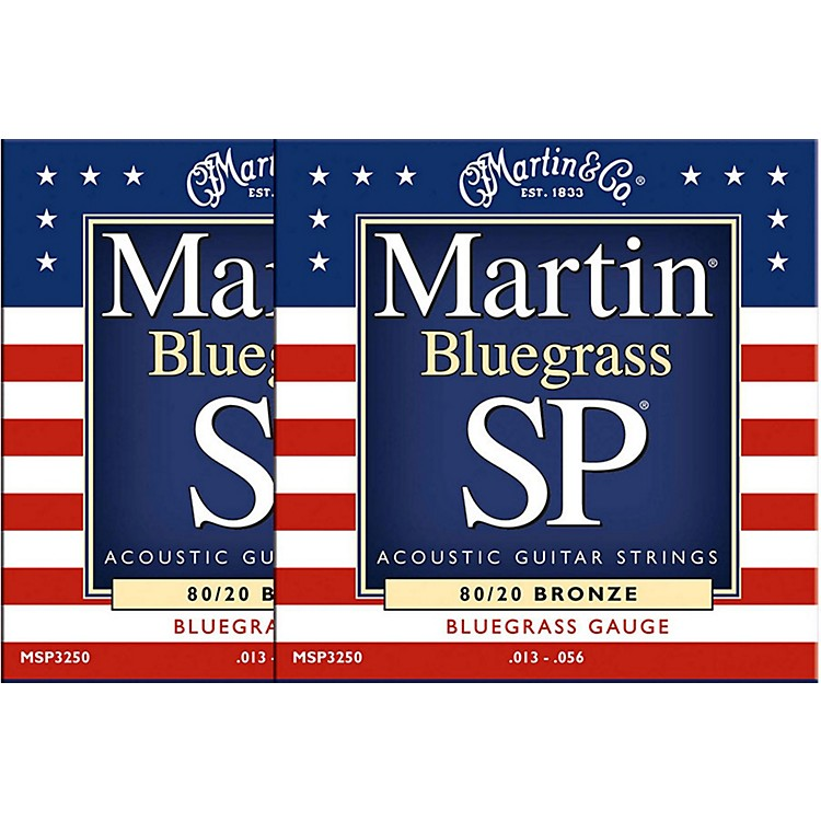 Martin MSP3250 SP Bronze Bluegrass Medium Acoustic Guitar Strings (2 Pack)
