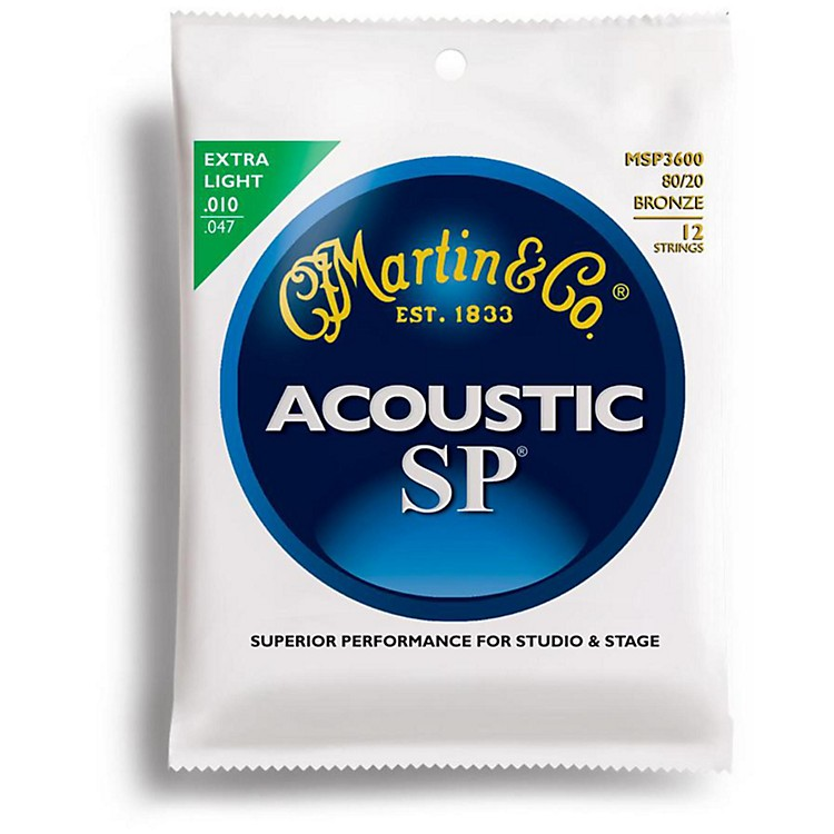 Martin MSP3600 Studio Performance 12-String Bronze Wound Extra Light Acoustic Guitar Strings