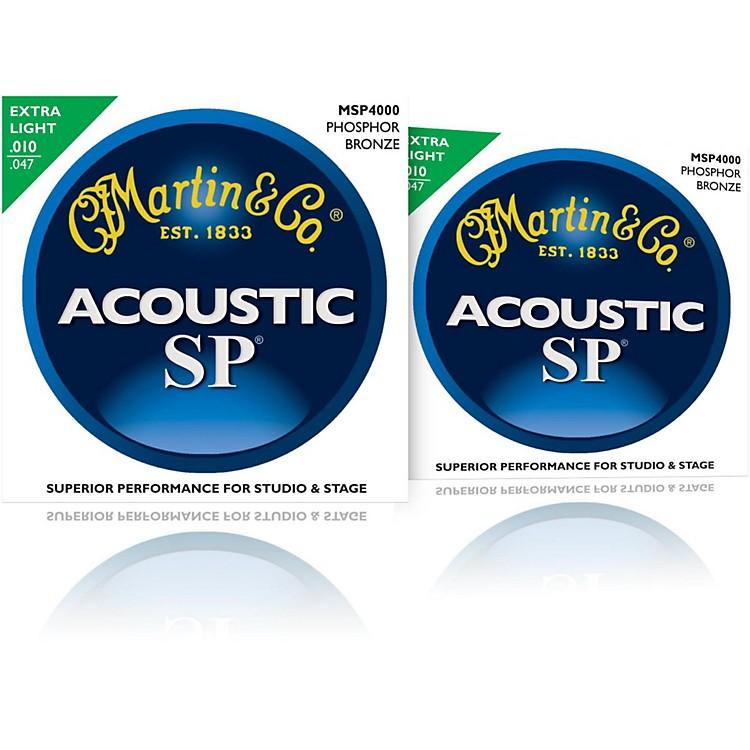 MartinMSP4000 SP Phosphor Bronze Extra Light Acoustic Guitar Strings (2 Pack)