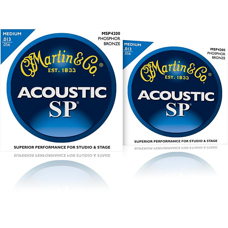 Martin MSP4200 Phosphor Bronze Medium Acoustic Guitar Strings (2 Pack)