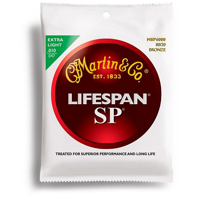 Martin MSP6000 SP Lifespan 80/20 Bronze Extra Light Acoustic Guitar Strings