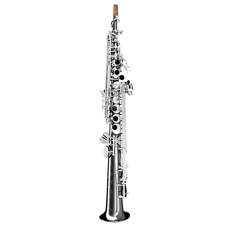Oleg Maestro Straight Soprano Saxophone Black Nickel with Silver Keys