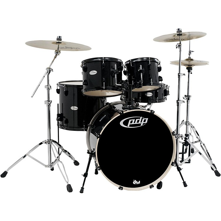 PDP Mainstage 5-Piece Drum Set with Zildjian Cymbals Black Metallic