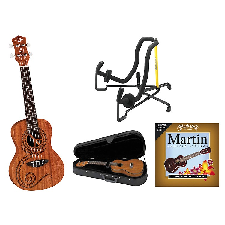 Luna Guitars Maluhia Concert Ukulele Bundle Mahogany with Satin Finish