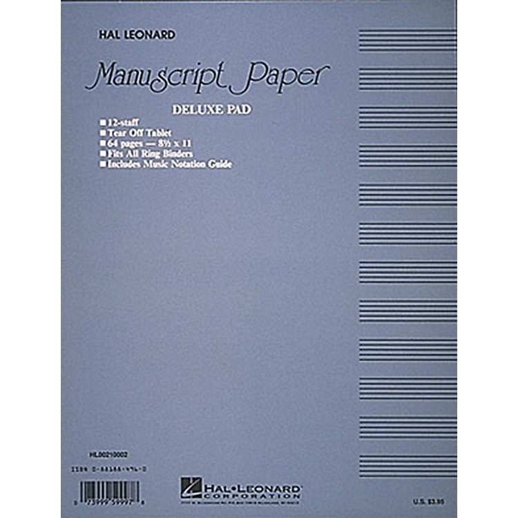 Hal Leonard Manuscript Paper 32 Page 12 Staves Punched Printed Both Sides