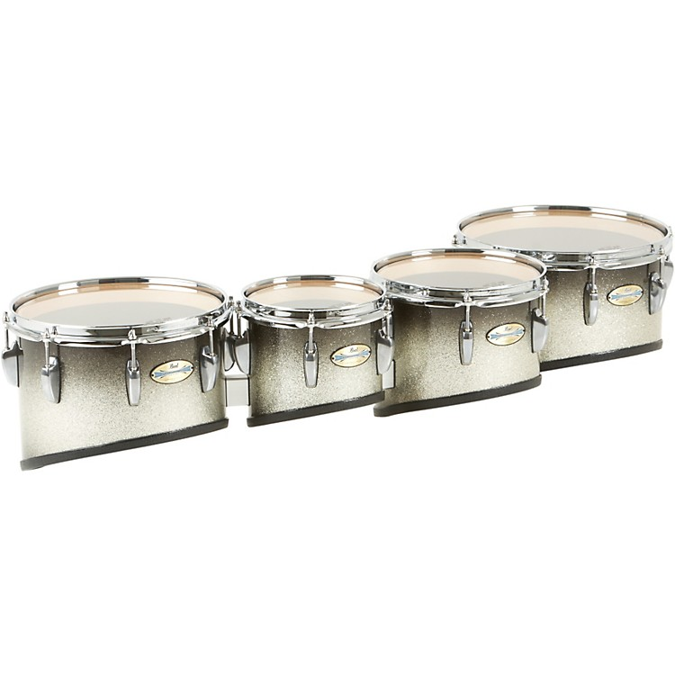Pearl Maple Carbon Core Marching Tenors Shallow Cut Quad Set (Drums & Spacers Only) Black Silver Burst 8,10,12,13