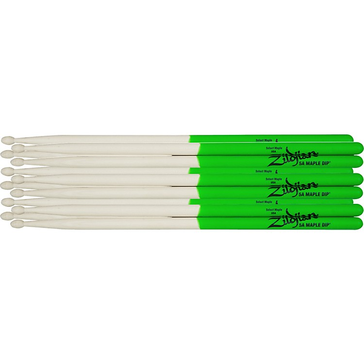 Zildjian Maple Green DIP Drumsticks 6-Pack Super 7A Wood Tip