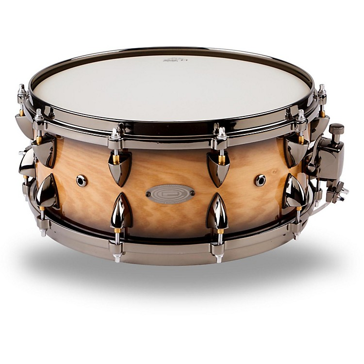 Orange County Drum & Percussion Maple Snare 6x14, Natural Black Burst Silver Sparkle