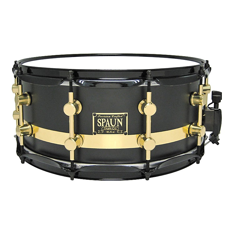 Spaun Maple Snare Flat Black W/Gold Stripe 14X6.5