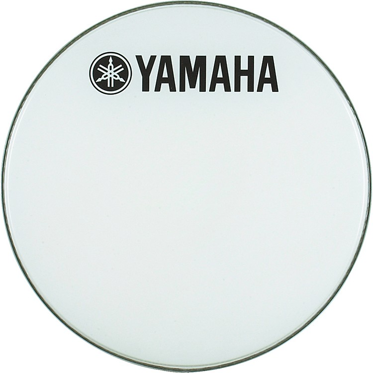 Yamaha Marching Bass Drum Head with Fork Logo White 18 in.