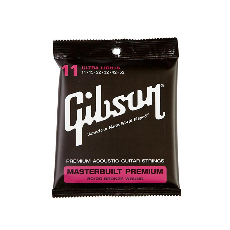 GibsonMasterbuilt Premium 80/20 Bronze Ultra Light Acoustic Guitar Strings