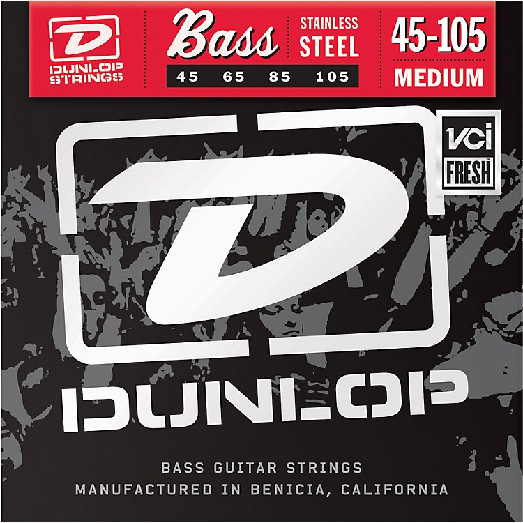 Dunlop Medium Stainless Steel Bass Strings