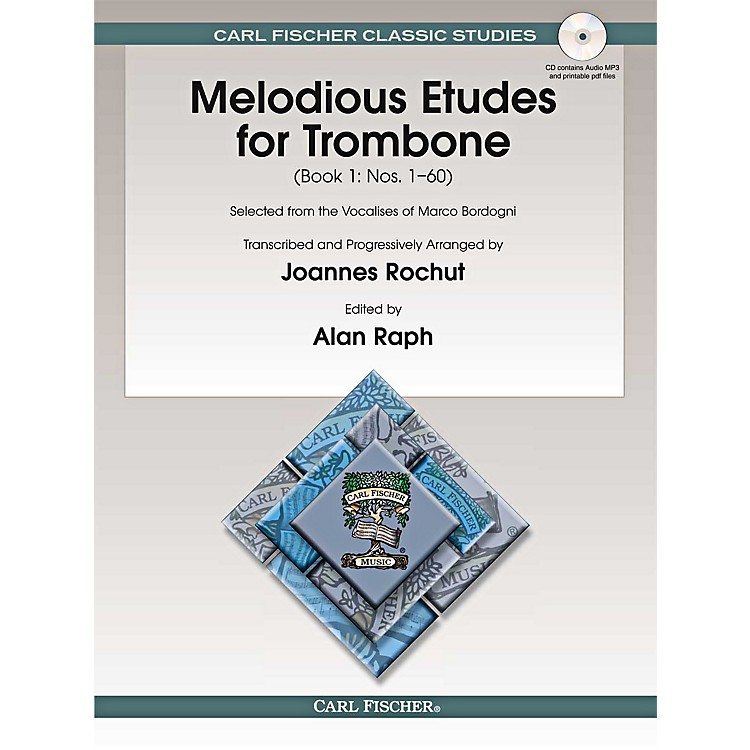 Carl Fischer Melodious Etudes for Trombone (Book/CD) - Joannes Rochut BOOK 1